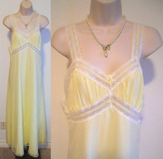 Vintage Yellow Chiffon Nightgown ~ 1960's Linda Li