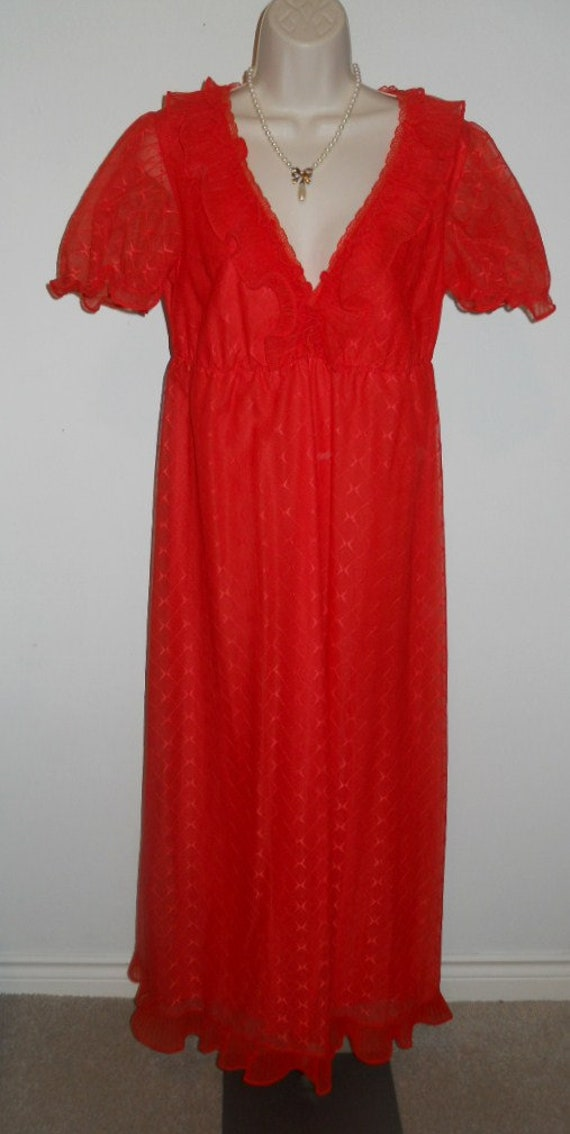 Vintage Scarlet Red Chiffon Long Ruffled Nightgow… - image 2