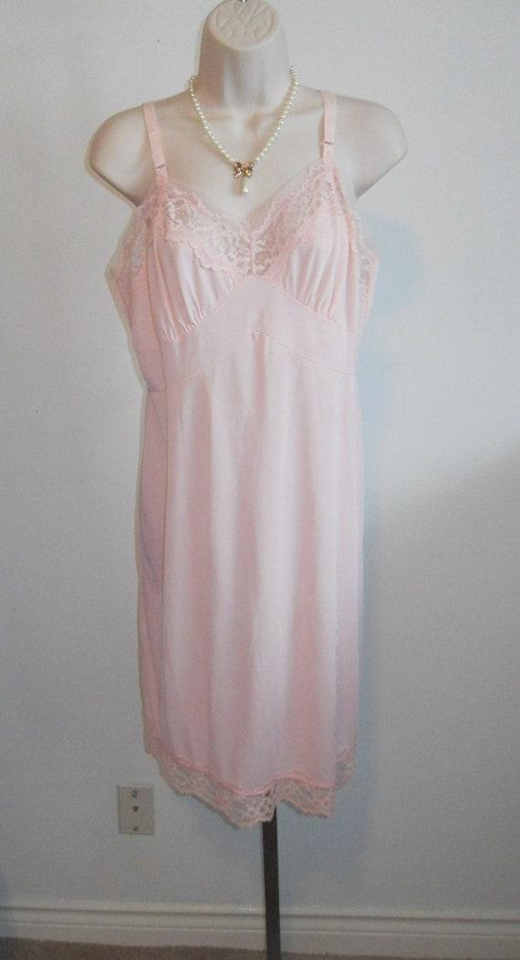 Vintage Fancy Pink Full Slip Chemise ~ 1950's Stra