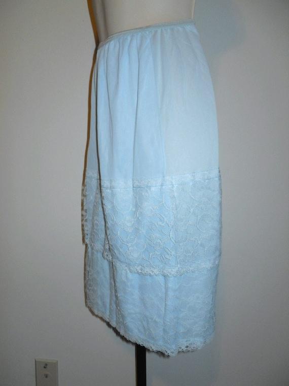 Vintage Lavish Lace Baby Blue Half Slip Petticoat