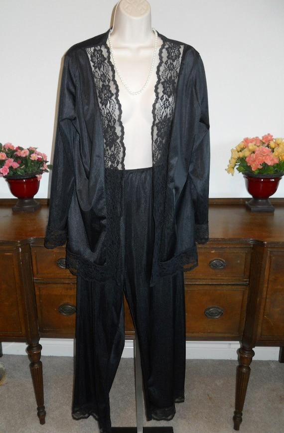 Vintage Undercover Wear Pajamas ~1980's Black Nylo