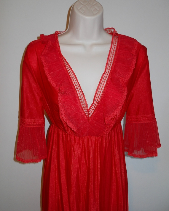 Vintage Long Red Chiffon Nightgown ~ 1980's Ruffl… - image 2
