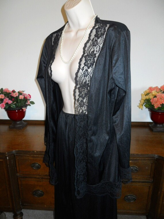 Vintage Undercover Wear Pajamas ~1980's Black Nyl… - image 4