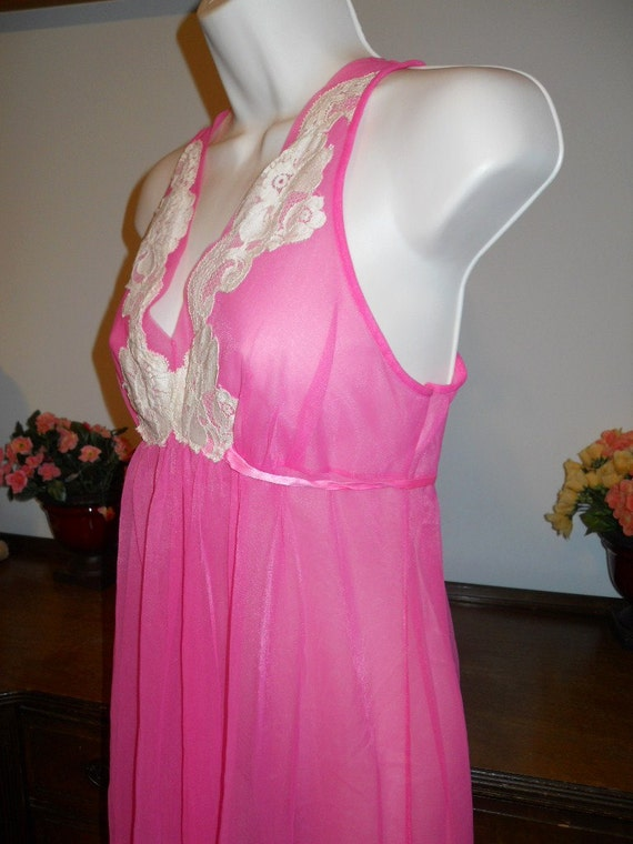 Vintage  ARISTOCRAFT Fancy Pink Nightgown ~ 1950'… - image 3