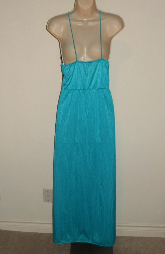 Vintage Long Teal Green Nightgown ~ 1980's Nightg… - image 6