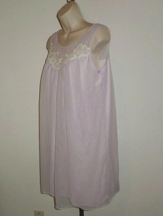 Vintage Lilac Chiffon Nightgown ~ 1960's Lov Lee … - image 4