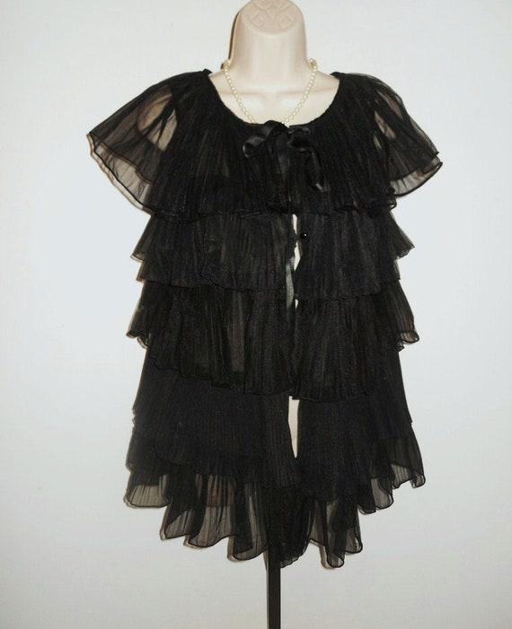 Vintage 1950's Evette Black Peignoir Negligee   ~… - image 2