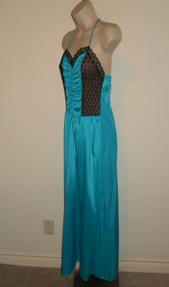 Vintage Long Teal Green Nightgown ~ 1980's Nightg… - image 4