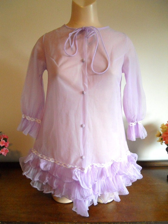 Vintage Lilac Baby Doll Peignoir ~ 1960's Double C