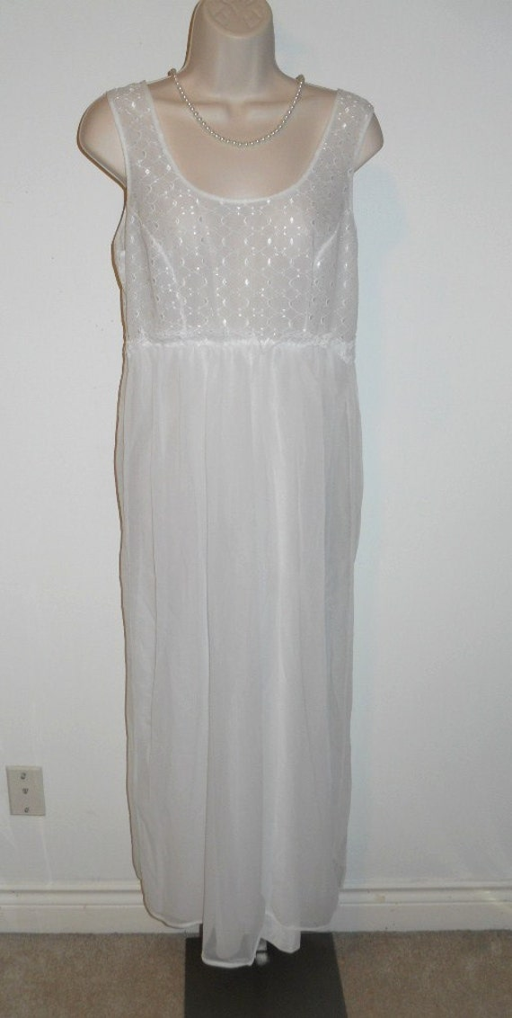 Vintage White Chiffon Nightgown ~1960's~ Bridal Wh