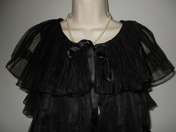 Vintage 1950's Evette Black Peignoir Negligee   ~… - image 9