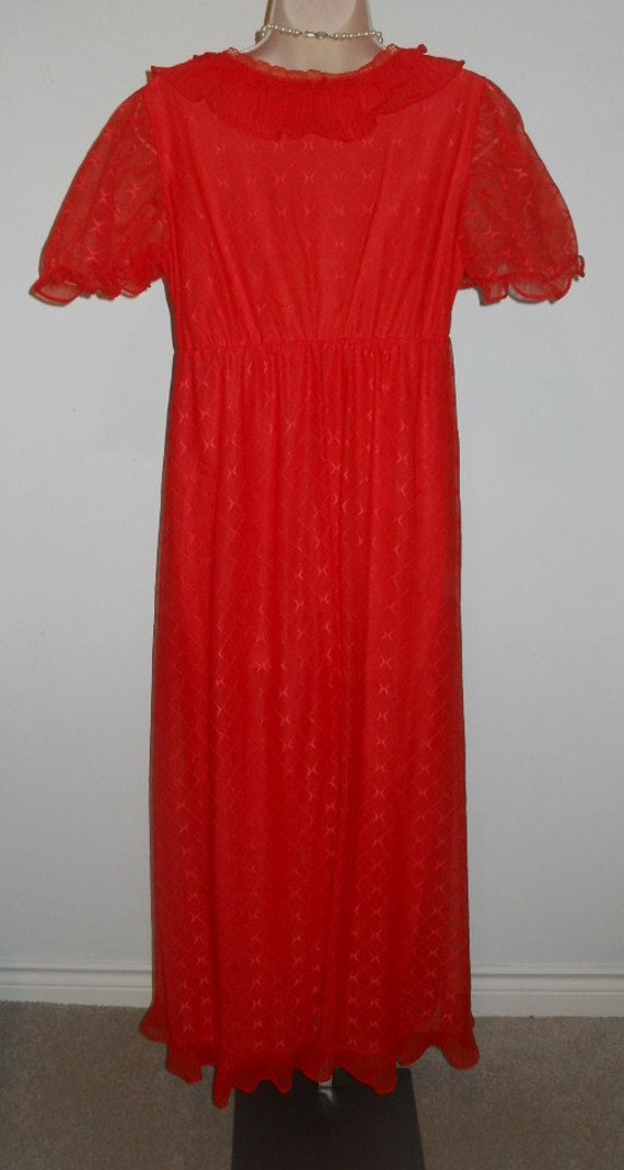 Vintage Scarlet Red Chiffon Long Ruffled Nightgow… - image 7