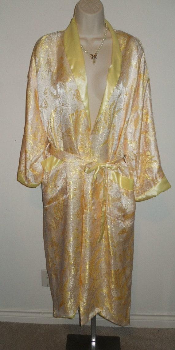 Vintage  Yellow  Satin Reversible Kimono ~ 1970's