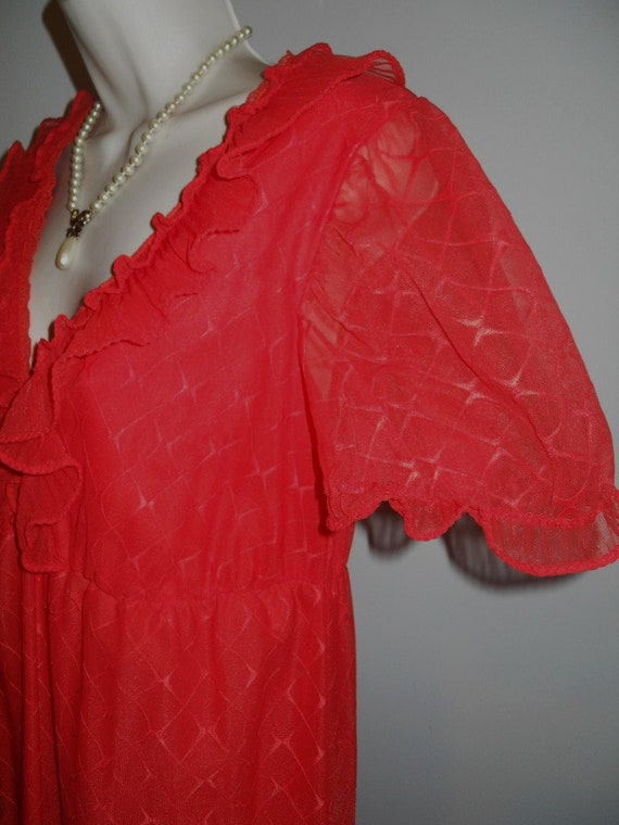 Vintage Scarlet Red Chiffon Long Ruffled Nightgow… - image 4
