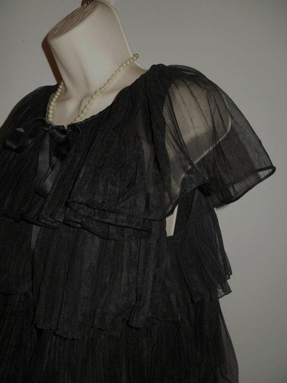 Vintage 1950's Evette Black Peignoir Negligee   ~… - image 4