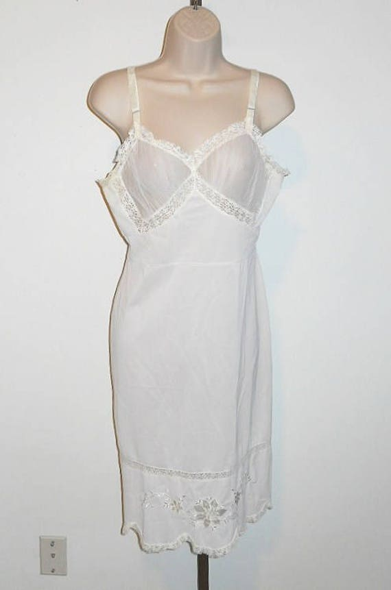 Vintage FANCY  Dorsay White Full Slip Chemise ~ 19