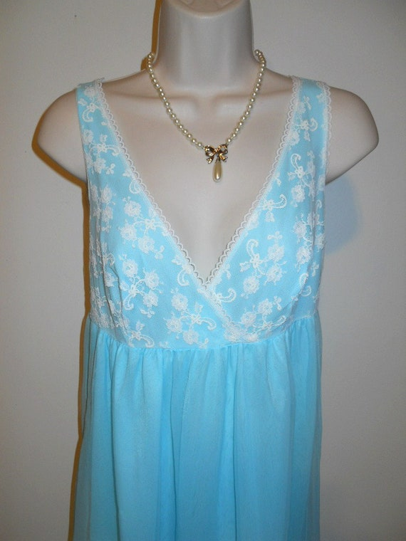 Vintage Baby Blue Chiffon Nightgown ~ 1960's Long… - image 3
