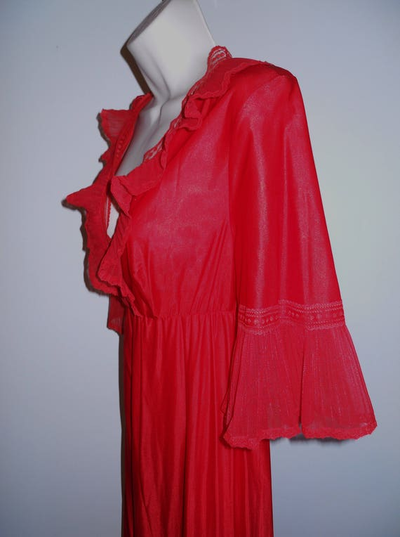 Vintage Long Red Chiffon Nightgown ~ 1980's Ruffl… - image 3