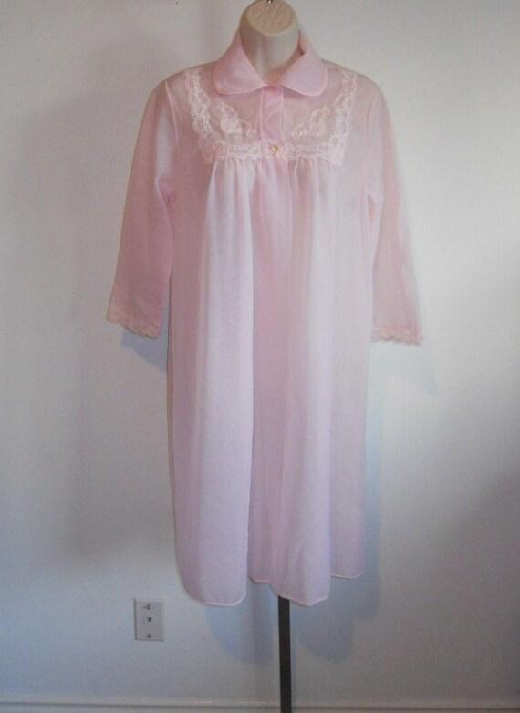 Vintage Pink Chiffon Peignoir ~ 1960's French Maid