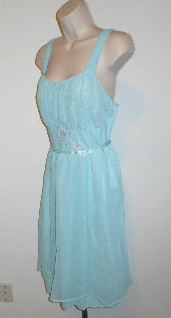 Vintage Blue Grecian Style Nightgown ~  1950's Ch… - image 3