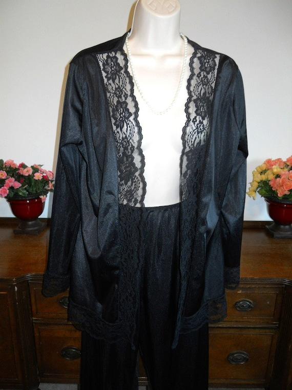 Vintage Undercover Wear Pajamas ~1980's Black Nyl… - image 3