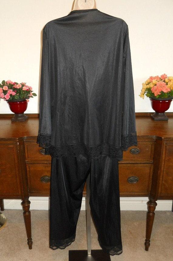 Vintage Undercover Wear Pajamas ~1980's Black Nyl… - image 5