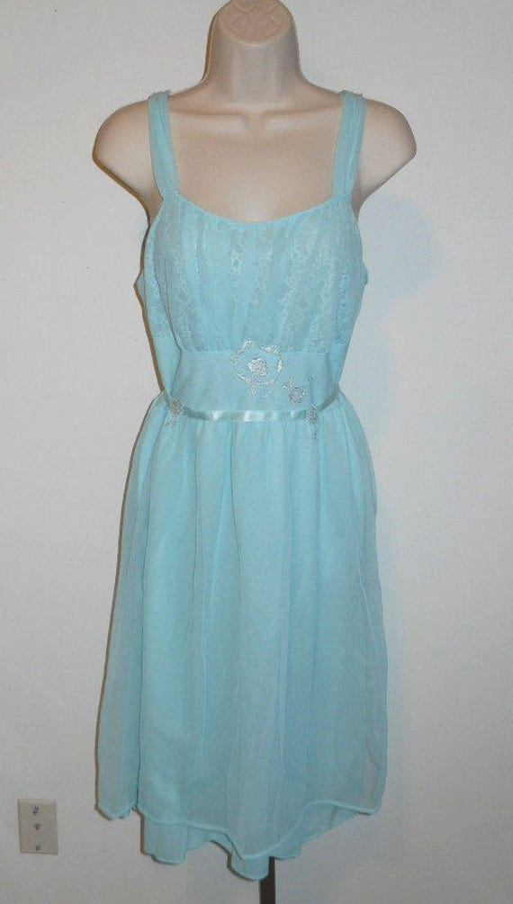 Vintage Blue Grecian Style Nightgown ~  1950's Cha
