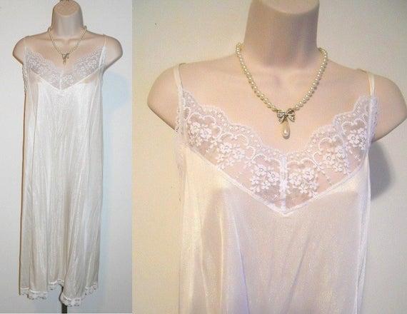 Vintage Cream Nylon Slip  ~ 1980's Feminine Silky