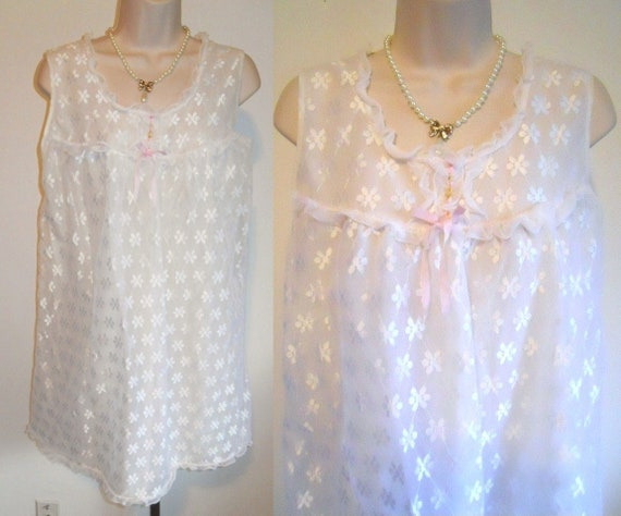 Vintage 1960's White Chiffon Baby Doll Nightgown ~