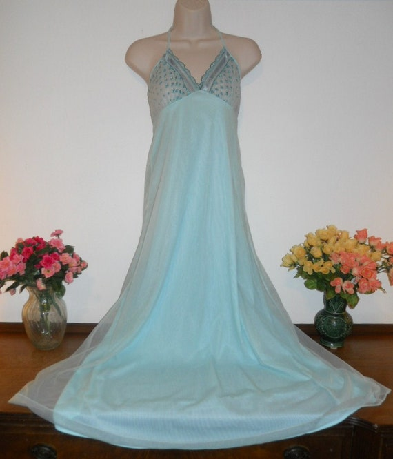 Vintage Blue Chiffon Nightgown ~ 1960's Lov Lee Em