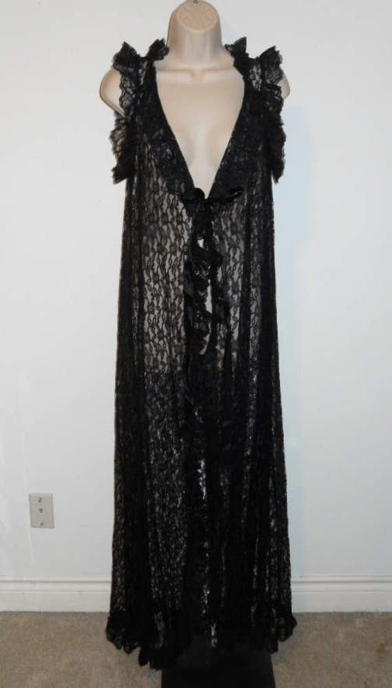 Vintage Black All Lace EXTRA LONG Peignoir Neglige
