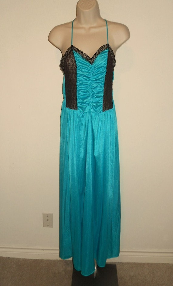 Vintage Long Teal Green Nightgown ~ 1980's Nightgo