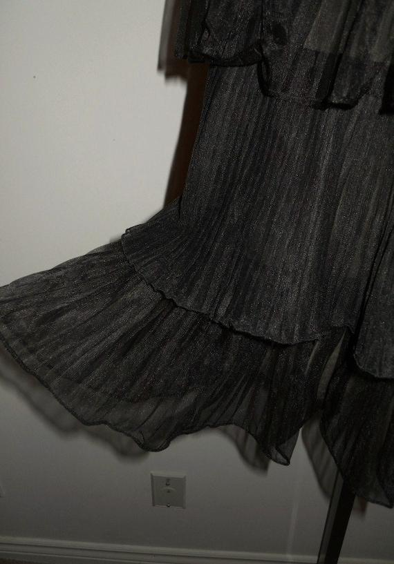 Vintage 1950's Evette Black Peignoir Negligee   ~… - image 6