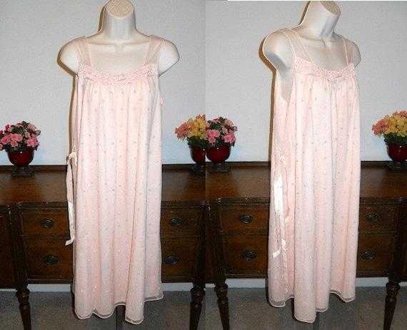 Vintage Peach Chiffon Nightgown ~ 1960's Double Ny