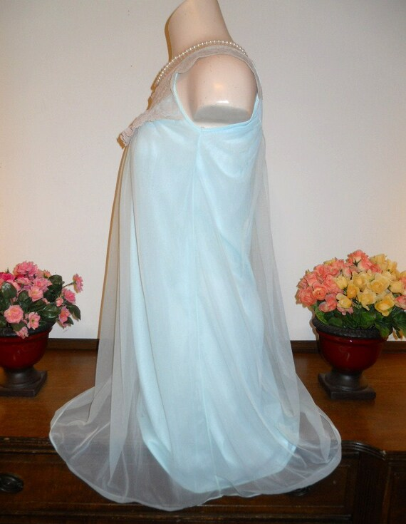 Vintage Baby Blue Nightgown ~ 1960's Love Lines b… - image 3