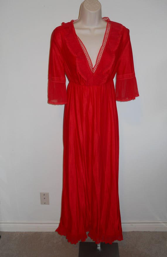 Vintage Long Red Chiffon Nightgown ~ 1980's Ruffl… - image 1