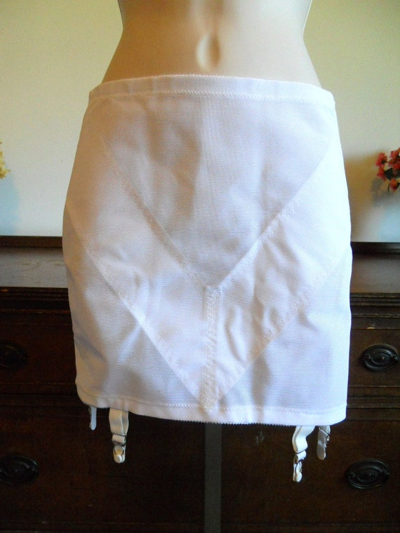 size Medium Vintage 1980s JC PENNY white floral applique stretch girdle brief