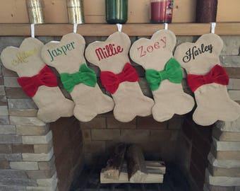 dog bone christmas stocking