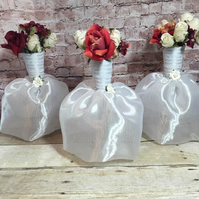 6 Bridal Dress Flower Vase Centerpieces Great For Bridal Etsy