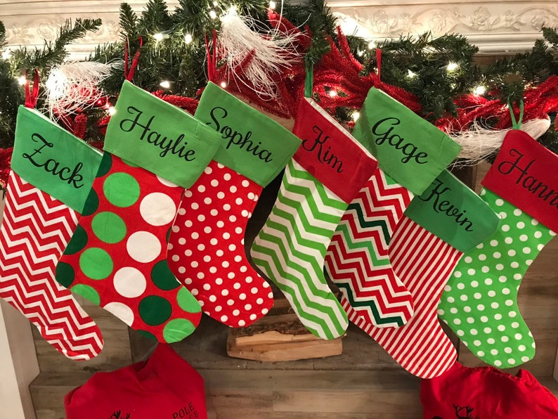 Personalized Christmas Stockings Canvas Stockings Santa Stocking Stuffers Professional Vinyl Pressing Christmas In July Sale