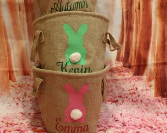 Personalized Burlap Easter Basket. Easter Egg Hunt Pale. Professional Vinyl Pressing. Available in Pink, Blue or Green. ON SALE NOW