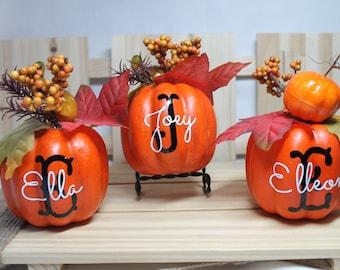 Personalized Pumpkins. Mini Pumpkins. Rustic Placecards. Monogram Pumpkin. Fun Fall or Thanksgiving Decor. Personalized Pumpkin Decor.