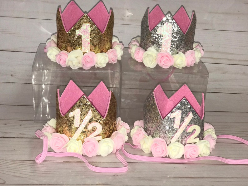 Birthday Crown. Smash Cake Outfit. 1/2 Birthday and 1st image 0