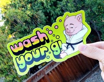 Sticker gift x Jiu jitsu - BJJ  - judo - original designs - Wash your Gi - a clean piggy is a good partner 6.5x 3.5 inches - weatherproof