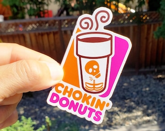 Stickers / Jiu jitsu - BJJ - mma - judo - original design - 100 available - Choking Donuts -