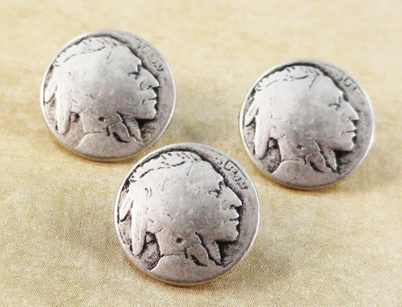 Indian Head Nickel Metal Button Qty 4 to 20 Silver Clothing Jewelry Clasp 20mm