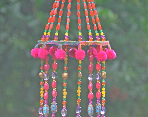 Turquoise orange and Fuchsia  Bohemian Beaded Wind Chime with Brass Bells and Fabric Tassels