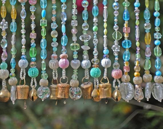 Pastel Glass Beaded Curtain With Gold Bells (Made to Order)