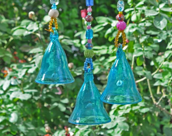 Turquoise glass bells- Garden decoration -set of 3 (made to order)
