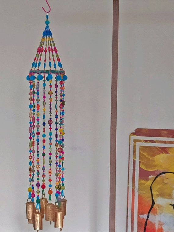 Bohemian beaded mobile with Brass bells-bohemian chic decor